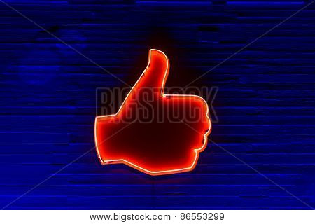 Neon Illuminated Thumbs Up