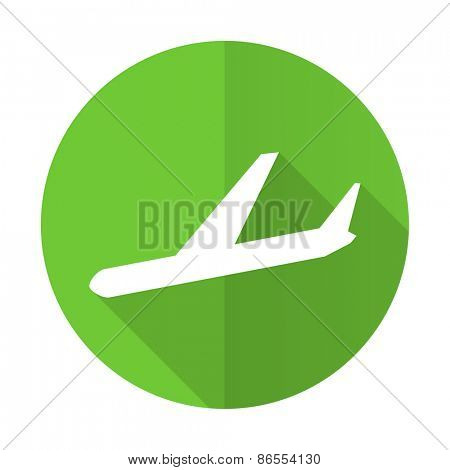 arrivals green flat icon plane sign