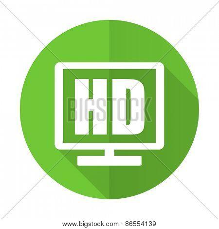hd display green flat icon