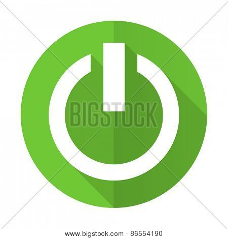 power green flat icon on off sign
