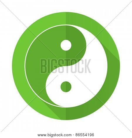 ying yang green flat icon