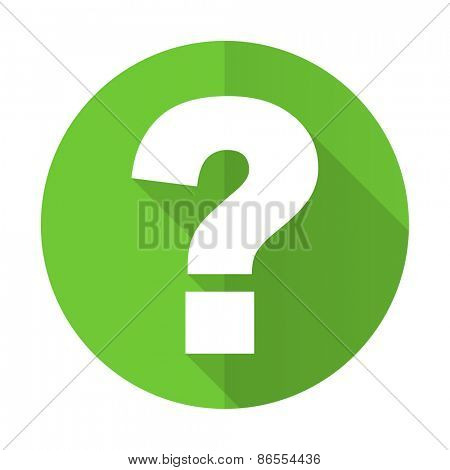 question mark green flat icon ask sign