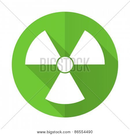 radiation green flat icon atom sign