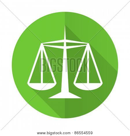 justice green flat icon law sign