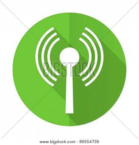 wifi green flat icon wireless network sign