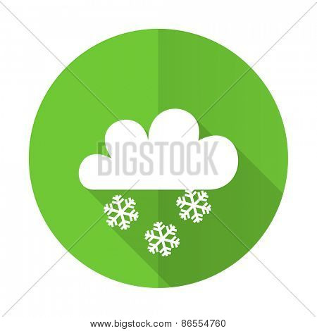 snowing green flat icon weather forecast sign