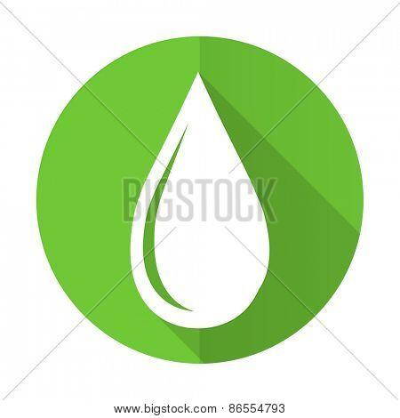 water drop green flat icon