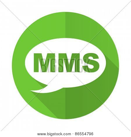mms green flat icon message sign