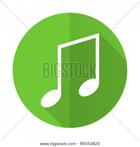music green flat icon note sign