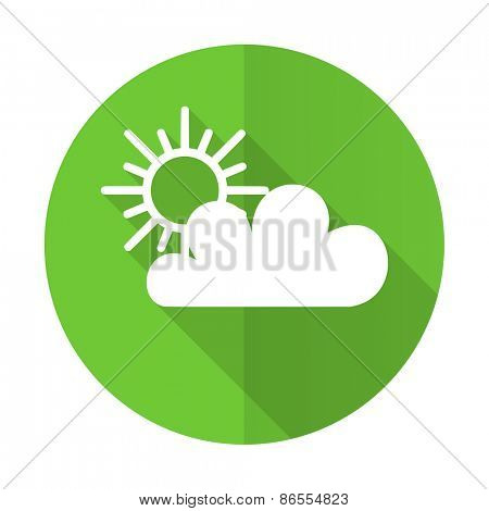 cloud green flat icon weather forecast sign