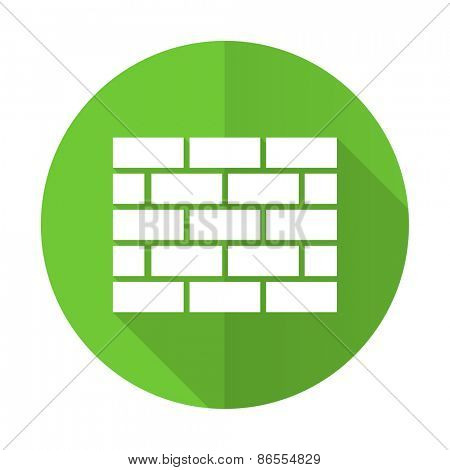 firewall green flat icon brick wall sign