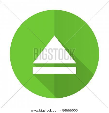 eject green flat icon open sign