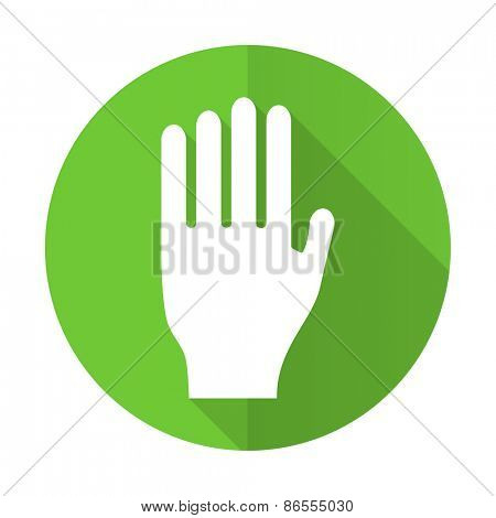 stop green flat icon hand sign