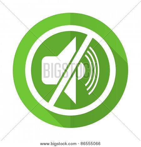 mute green flat icon silence sign