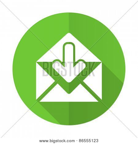 email green flat icon post message sign