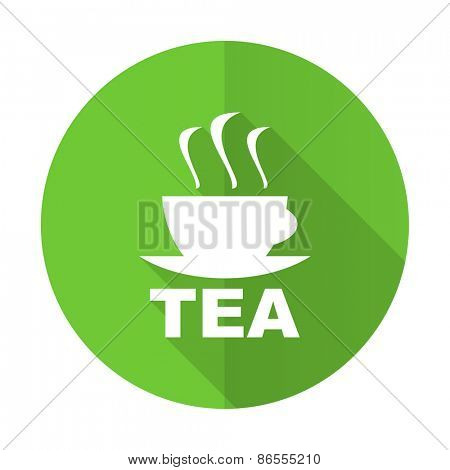 tea green flat icon hot cup of tea sign