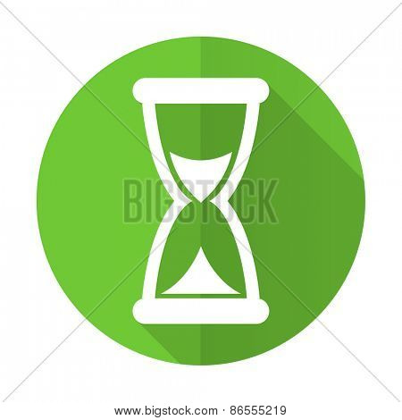 time green flat icon hourglass sign