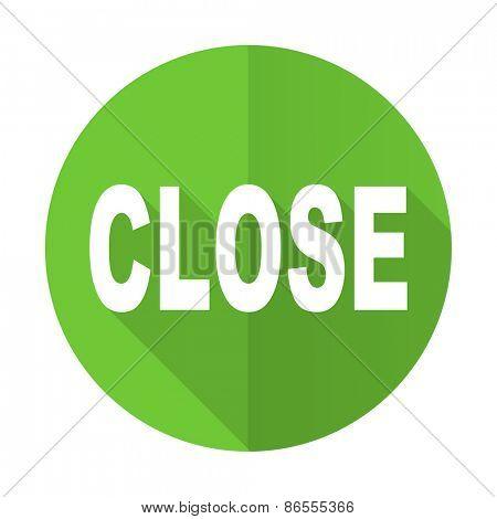 close green flat icon
