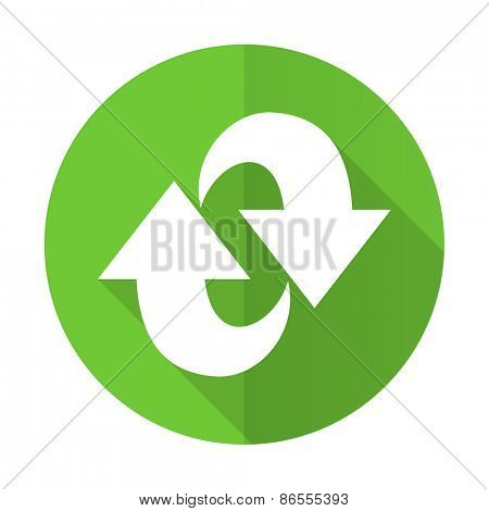 rotation green flat icon refresh sign
