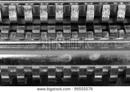 Metal zipper, macro view