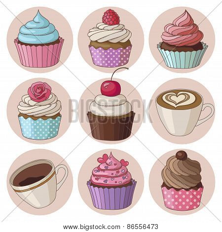 Cupcakes and coffee isolated set