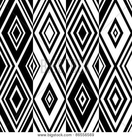 Seamless Rhombus Pattern. Vector Monochrome Background