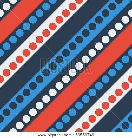 Seamless Diagonal Stripe and Circle Pattern. Vector Blue and Red Background