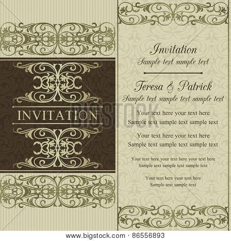 Baroque wedding invitation, brown