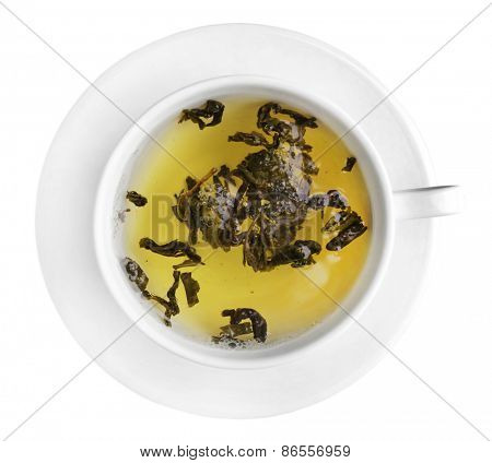 Cup of herbal tea isolate on white