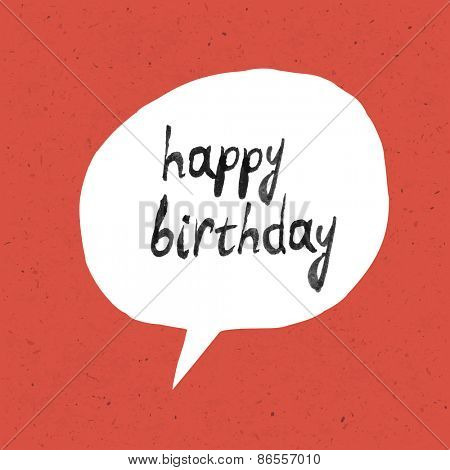 Happy Birthday Lettering On Red Paper Texture