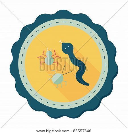 Reptiles Flat Icon With Long Shadow,eps10