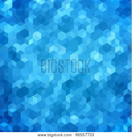 Abstract geometric blue hexagonal background