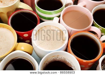 Many cups of coffee, closeup