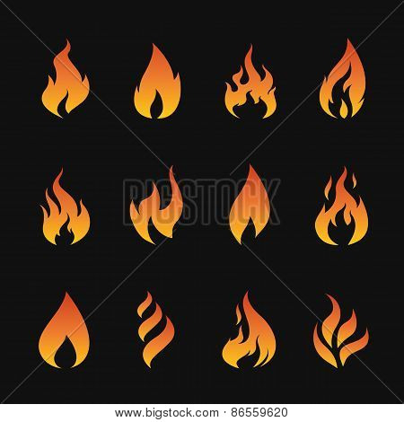 Vector Set Of Flame Symbols On Black Background