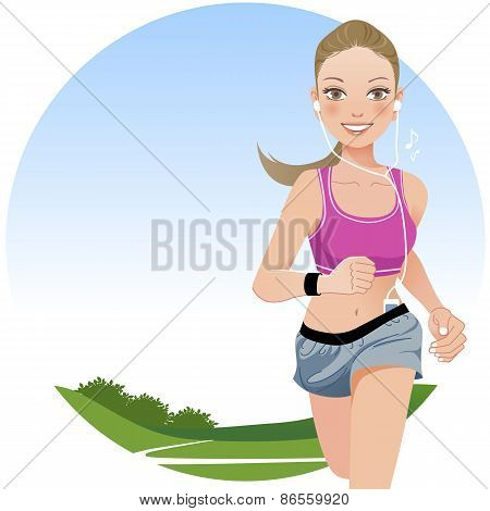 Running Woman In Country Side