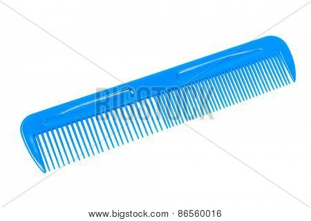 blue plastic comb on a white background