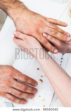male massage hands in the manicure room