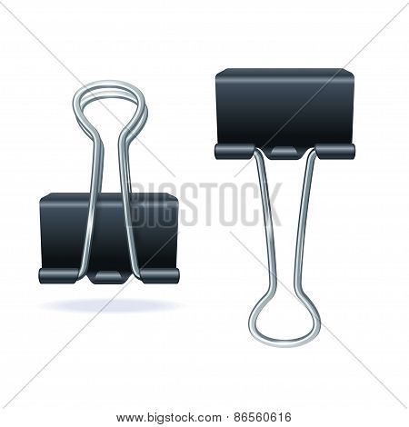 Vector black binder clip set