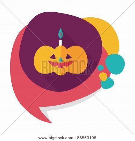 Pumpkin Candle Flat Icon With Long Shadow,eps10