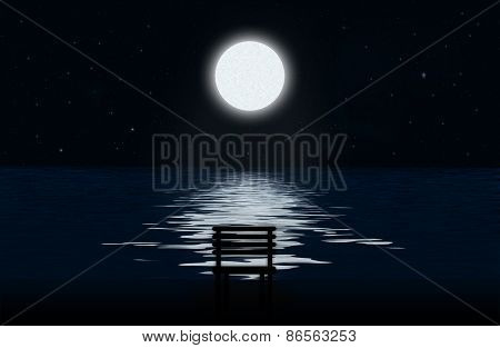 The Moon, Moonlit Path And Silhouette Of Chair