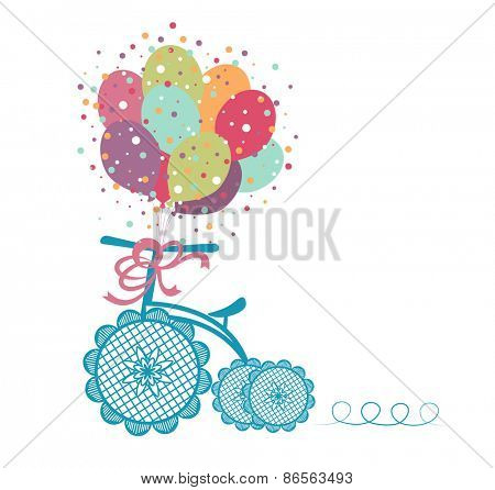 Tricycle with celebration balloons - Whimsical