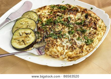 Omelet With Vegetables And Cheese.