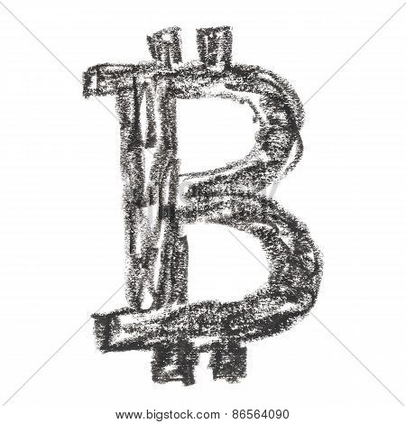 Black Bitcoin Symbol Drawing