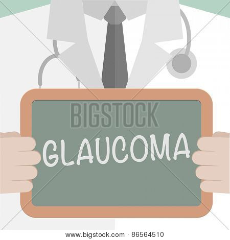 minimalist illustration of a doctor holding a blackboard with Glaucoma text, eps10 vector