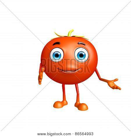 Tomato Character With Shakehand