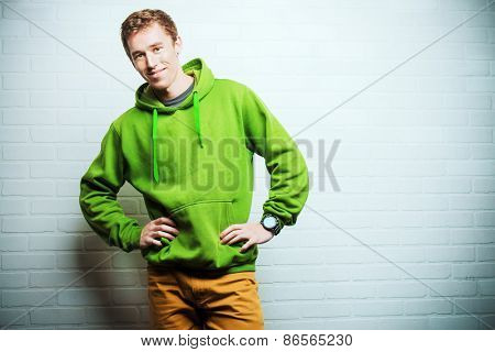 Portrait of a handsome young man in casual clothes. Studio shot.