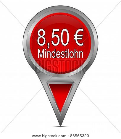 map pointer with 8,50 Euro minimum wage - in german