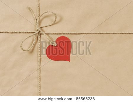 Brown Parcel With Rope And Heart
