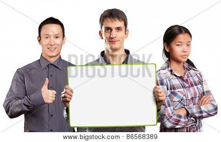 Team and male with write board in his hands isolated against different backgrounds