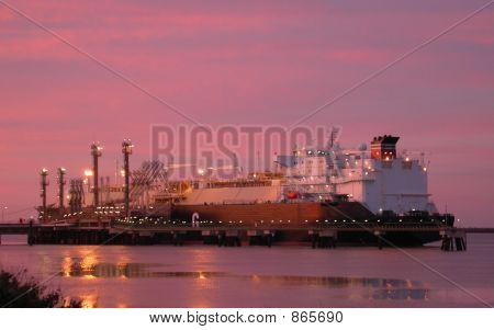 LNG Ship at Sunrise